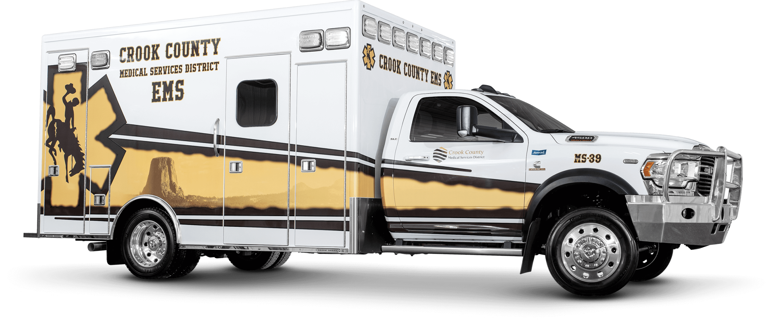 Passenger Side View of Crook County Ambulance
