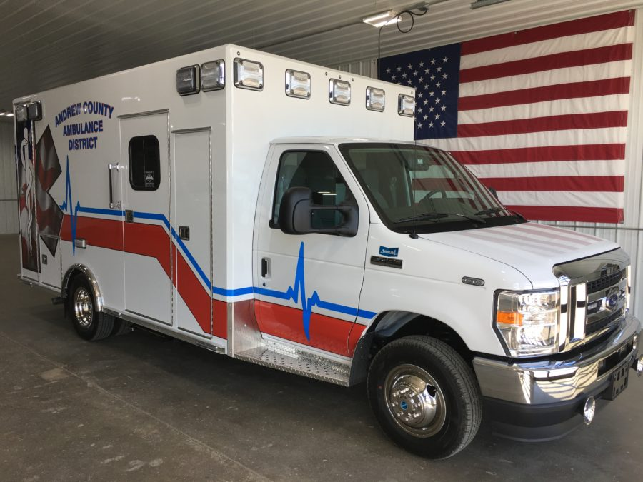 2021 Ford E450 Type 3 Ambulance delivered to Andrew County Ambulance District in Savannah, MO