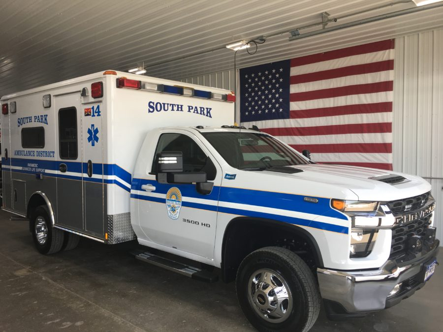 2021 Chevrolet K3500 Type 1 4x4 Ambulance delivered to South Park Ambulance District in Fairplay, CO