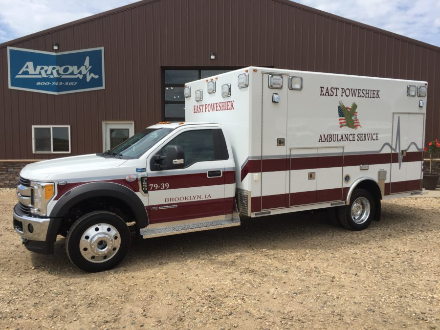 2017 Ford F450 Heavy Duty 4x4 Ambulance delivered to East Poweshiek Ambulance in Brooklyn, IA