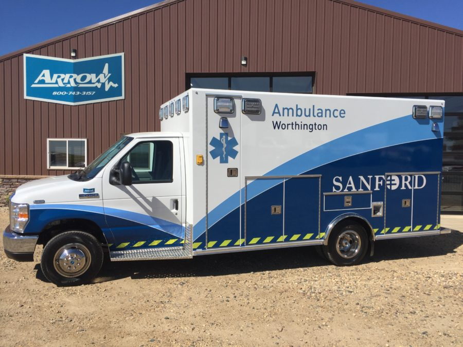 2019 Ford E450 Type 3 Ambulance delivered to Sanford Health Network- Worthington in Worthington, MN