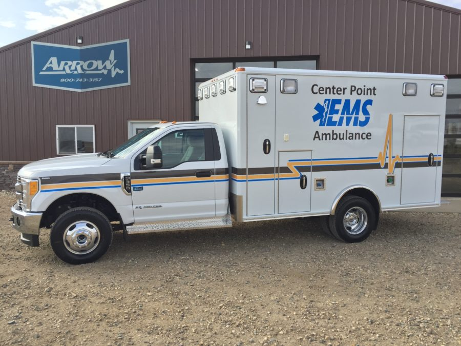2017 Ford F350 Type 1 4x4 Ambulance delivered to Center Point Ambulance in Center Point, IA
