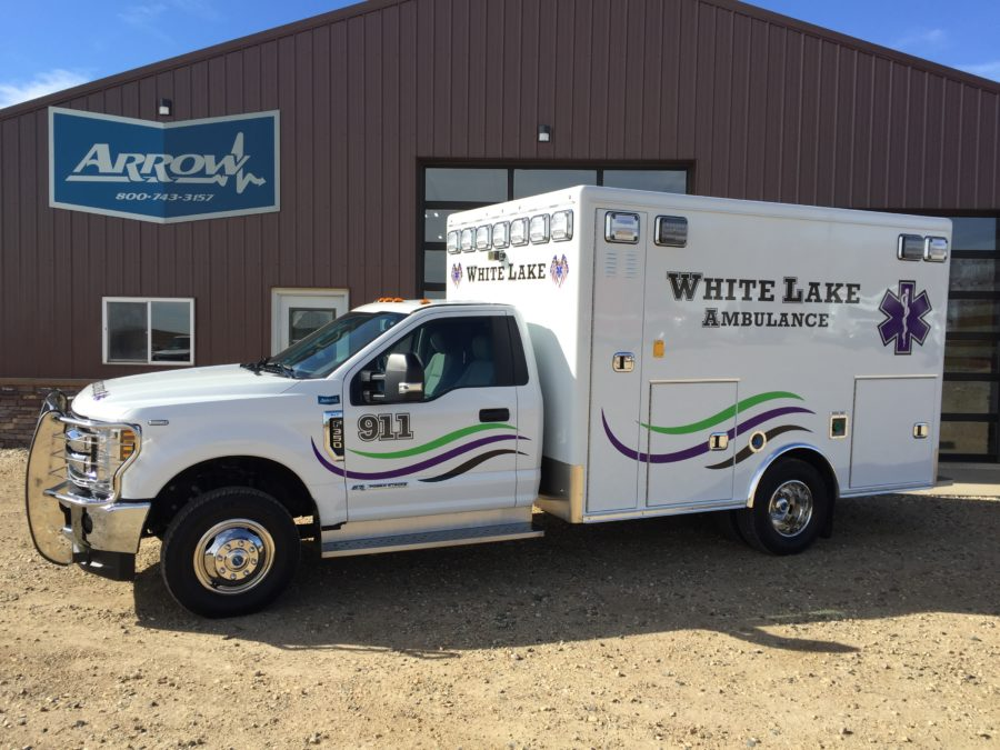 2018 Ford F350 Type 1 4x4 Ambulance delivered to White Lake Ambulance in White Lake, SD