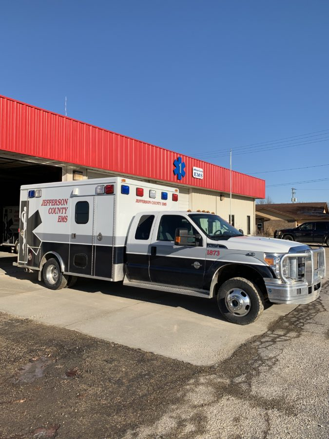 2013 Ford F350 Type 1 4x4 Ambulance delivered to Jefferson County Ambulance, KS in Oskaloosa, KS